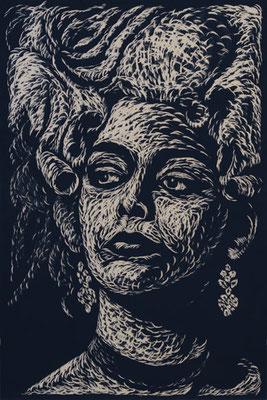 Casanova - Tina Aumont - Holzschnitt 2015 / 150cm x 100cm