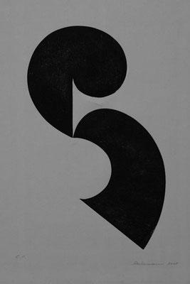 Spiel mit geteilter Form    Holzdruck 2005