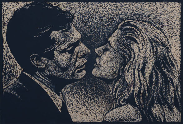 Dolce Vita - Marcello Mastroianni / Anita Ekberg - Holzschnitt 2015 / 220cm x 150cm