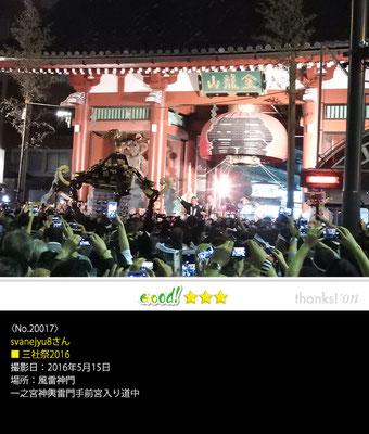 svanejyu8さん:三社祭 ,2016年5月15日,一之宮神輿雷門手前宮入り道中