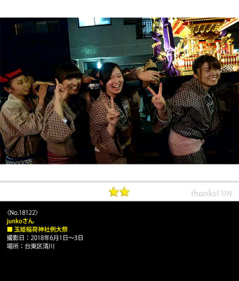 junkoさん:玉姫稲荷神社例大祭, 2018年6月1日~3日, 台東区清川