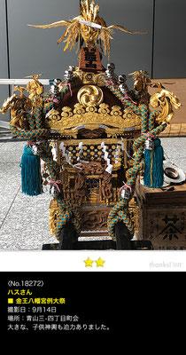 ハスさん:金王八幡宮例大祭 , 2018年9月14日, 青山三・四丁目町会 子供神輿