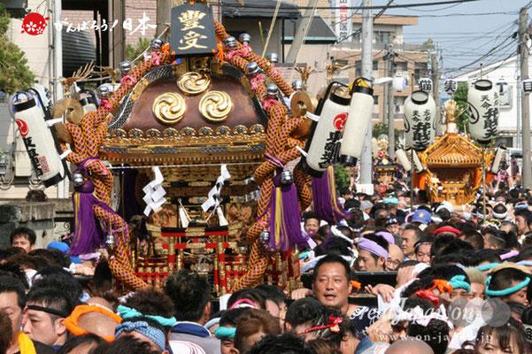 浦安三社祭〈猫実・連合渡御〉前:東組連合・本社神輿/後:弁財天 @2012.06.17