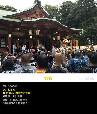 ひ、とさん:世田谷八幡神社例大祭, 2016年9月18日,世田谷八幡神社