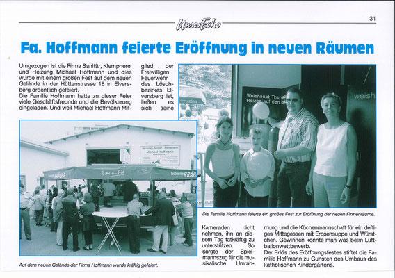 """Bericht über die Eröffnungsfeier zum Umzug in """"Unser Echo"""" 2003"""
