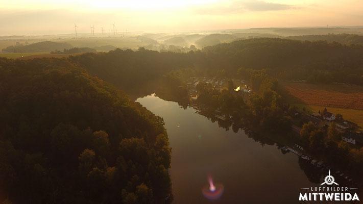 Zeltplatz Lauenhain bei Sonnenaufgang
