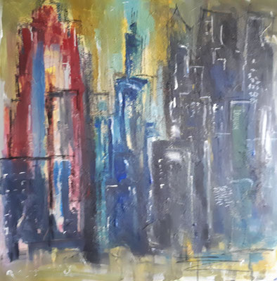 Abstract Skyline, 80 x 80, Acryl, Struktur und Graphit auf Leinwand