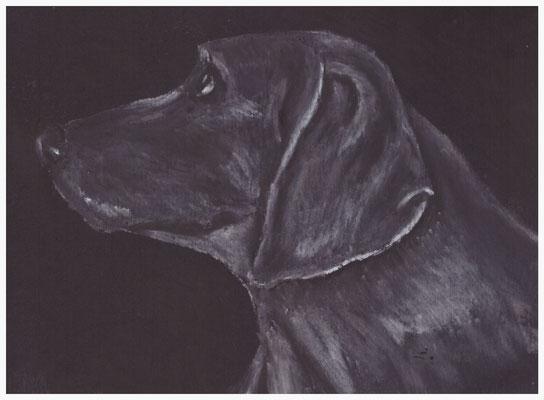 Ronja, Kreide auf schwarzem Tonkarton
