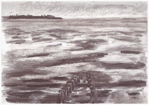 Watt bei Ebbe, Kohle im Skizzenbuch