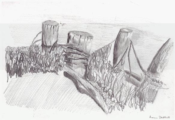 Buhnen im Watt, Bleistift im Skizzenbuch