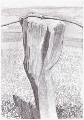 Holzpfahl bei Uaal Aanij, Bleistift im Skizzenbuch