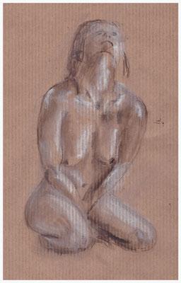 Aktskizze, knieende Frau, Kohle und Kreide auf Packpapier