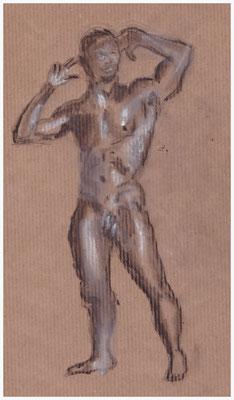 Aktskizze, stehender Mann, Kohle und Kreide auf Packpapier