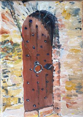 Tor im Braunfelser Schloss, 13 x 18, Acryl auf Leinwand