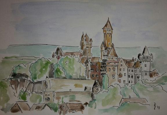 Panorama Braunfels, 30 x 21, Tuschezeichnung aquarelliert auf Aquarellkarton