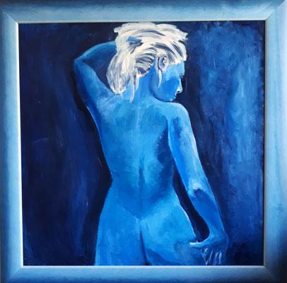Standing Blue, 90 x 90, Acryl auf Hartfaser gerahmt