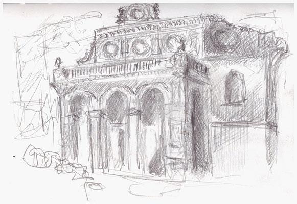 Anhalter Bahnhof, Bleistift im Skizzenbuch