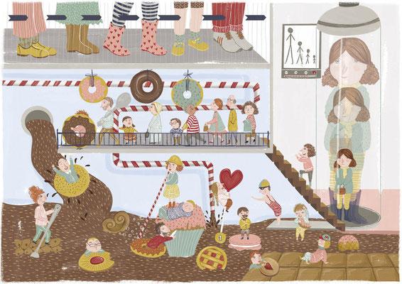 """""""Sweet Downsizing"""" Finalista concurso de ilustración dulce Pastelería Tolosana (2017)"""
