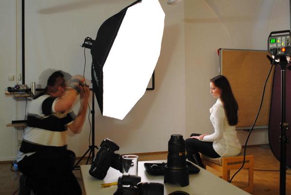 Setaufbau für Portraitshooting Foto: Lorena Pirker