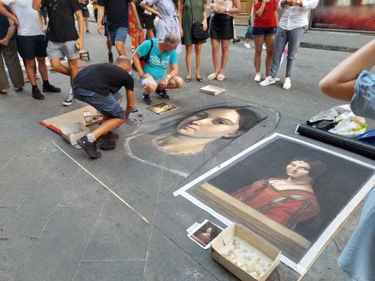 "La Belle Ferronnière von Leonardo da Vinci im ""weißen Kleberahmen"""
