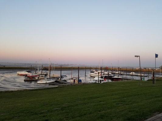 Abendstimmung über dem Yachthafen, jetzt wieder bei Ebbe