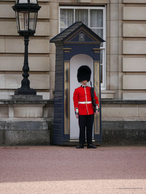 Wachsoldat der Guard Division vor dem Buckingham Palace