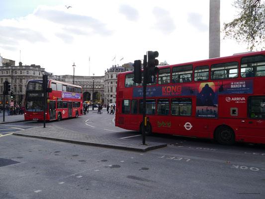 Geschäftiges Treiben rund um Trafalgar Square
