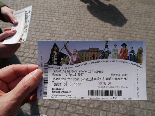 Eintrittskarte x 2 = 70 £ für die Familie