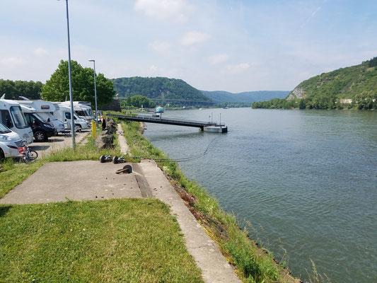 """Erste Reihe auf dem """"Stellplatz am Rheinufer"""" in Andernach"""