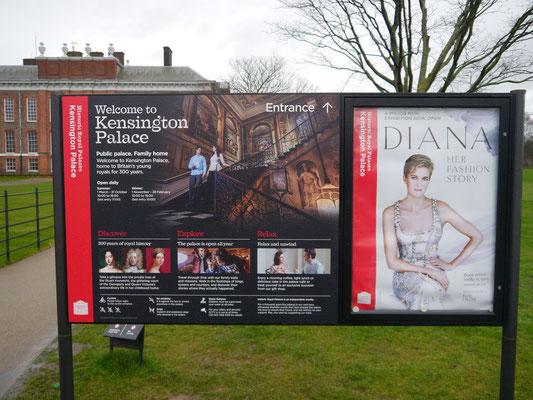 Hinweis auf Dianas früheren Wohnsitz
