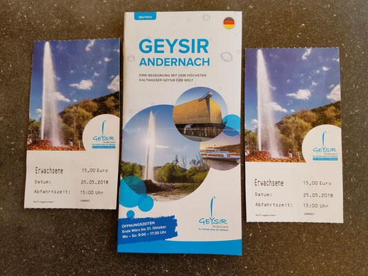 Eintrittskarten und Flyer zum Geysir