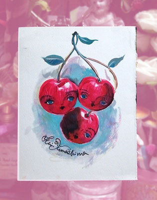 """2015  Oil on paper """"Cherry chan"""""""