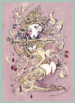 2015  pen + PC /drawing ペン/着彩:PC  私の中の戦いの女神は輝く金の甲冑を着ているイメージ