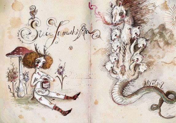 2015  pen + PC /drawing   ラルネのハイドラ  神の子は冥府のジャムをたべきらなかった