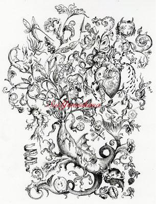 2017 魂の形 / Drawing / Pen, ink / Vimoqueさんとのコラボ企画のために描きました