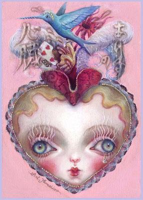 2017 【不思議の国のアリス/テーマ個展出展】アリスの心臓   / Oil painting on wood board , Mixed media / size: SM / SOLD