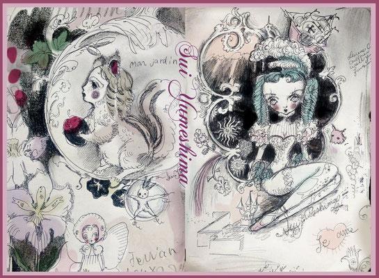 """2015  pen + PC /drawing /// """"Je vous comprends"""" and  """"Sois mon bébé"""""""