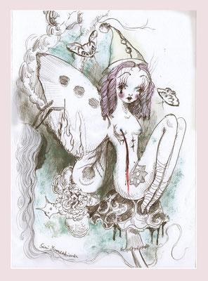 2015  pen + PC /drawing ペン/着彩:PC   「私の羽に火をつけ嗤う人」