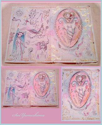"2015  pen + PC / mixed media / ""The innocent pink wolrd"" 部分"