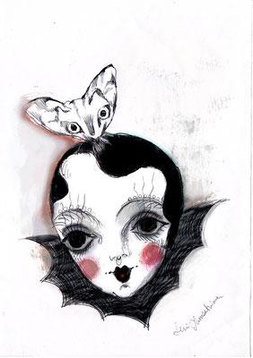 "2015  pen + PC /drawing ペン/着彩:PC  ""The Doll"""