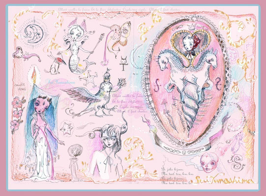 """2015  A4size pen + PC / mixed media / """"The innocent pink wolrd"""""""
