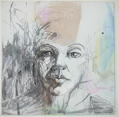 Nach Außen  60 x 60 cm  Acryl/Tusche auf Leinwand