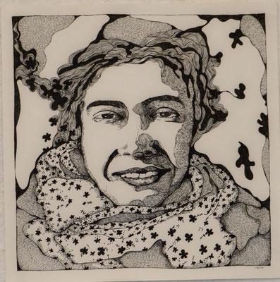 Barcelonaschal 42 x 42 cm Fineliner auf Papier