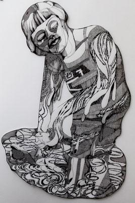 Die neue Froschfängerin ca. 60 x 90 cm Tuschestift auf Papier