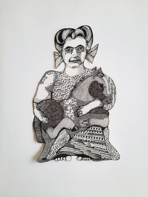 Frau mit Fohlen ca. 35 x 57 cm Fineliner auf Papier