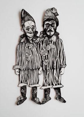 Gaukler (2 Clowns) ca. 26 cm Fineliner auf Papier