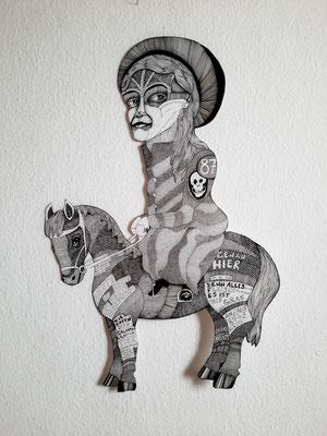 Graffiti Pony ca. 56 x 90 cm Fineliner auf Papier