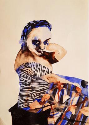 Frau mit Blau 21 x 29,7 cm Aquarell / Filzstift