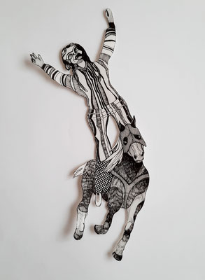 Reiter (2) ca. 15 x 40 cm Fineliner auf Papier