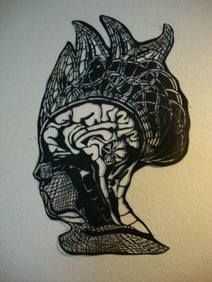 Gehirn  ca. 40 x 70 cm   Papierschnitt